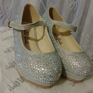 Toddlers Kids Sizes Dress Shoes Silver Glitter